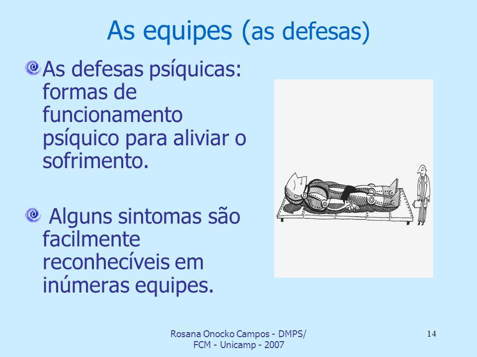Rosana Onocko Campos - DMPS/ FCM - Unicamp - 2007 14 As equipes ( as defesas) As defesas psíquicas: formas de funcionamento psíquico para aliviar o so
