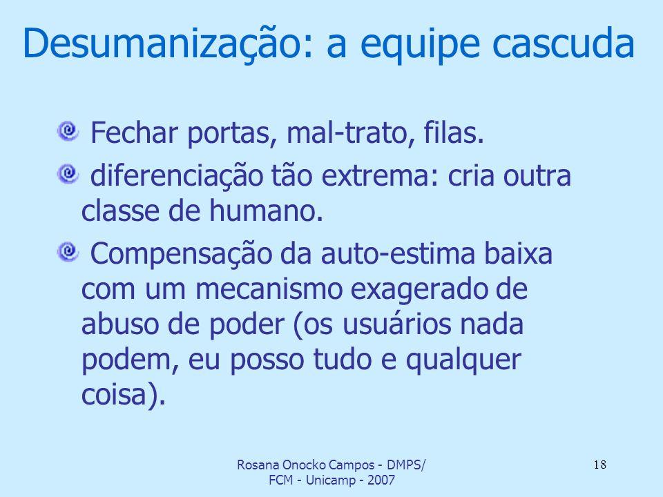 Rosana Onocko Campos - DMPS/ FCM - Unicamp - 2007 18 Desumanização: a equipe cascuda Fechar portas, mal-trato, filas. diferenciação tão extrema: cria