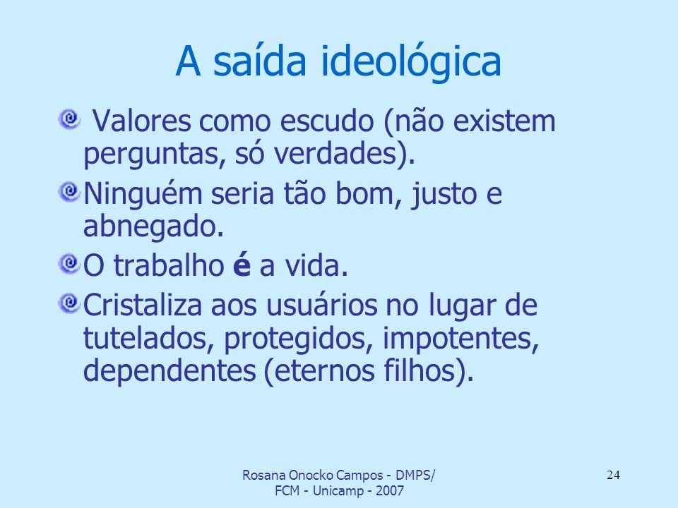 Rosana Onocko Campos - DMPS/ FCM - Unicamp - 2007 24 A saída ideológica Valores como escudo (não existem perguntas, só verdades). Ninguém seria tão bo