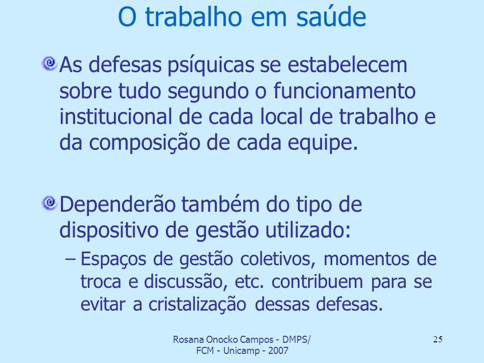 Rosana Onocko Campos - DMPS/ FCM - Unicamp - 2007 25 O trabalho em saúde As defesas psíquicas se estabelecem sobre tudo segundo o funcionamento instit