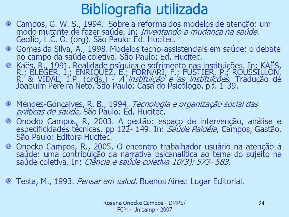 Rosana Onocko Campos - DMPS/ FCM - Unicamp - 2007 34 Bibliografia utilizada Campos, G. W. S., 1994. Sobre a reforma dos modelos de atenção: um modo mu