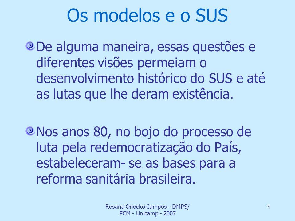 Rosana Onocko Campos - DMPS/ FCM - Unicamp - 2007 5 Os modelos e o SUS De alguma maneira, essas questões e diferentes visões permeiam o desenvolviment