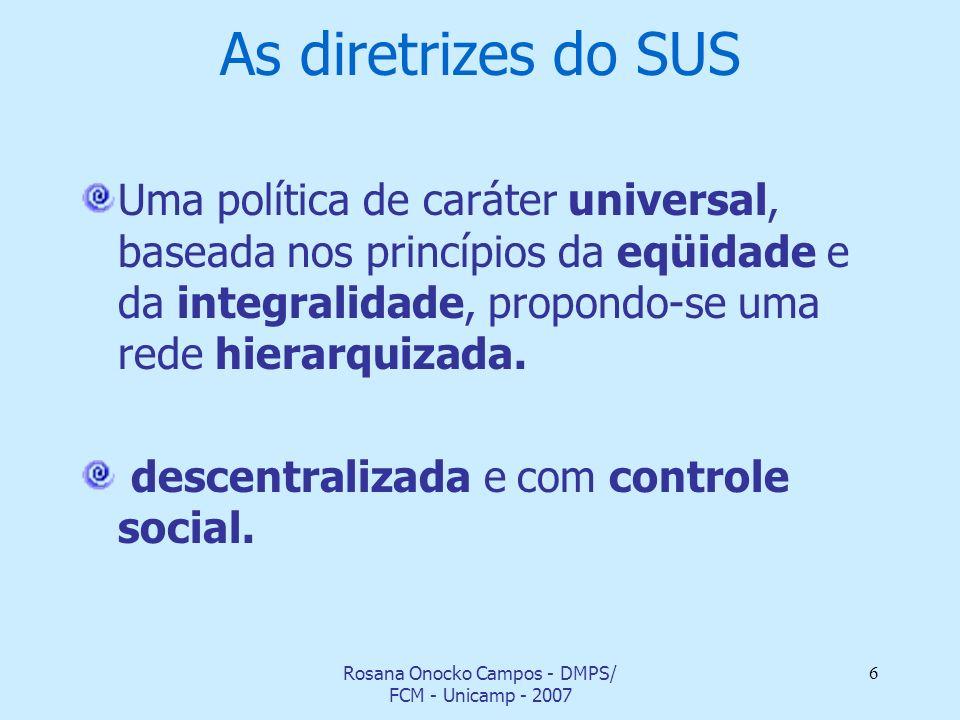 Rosana Onocko Campos - DMPS/ FCM - Unicamp - 2007 6 As diretrizes do SUS Uma política de caráter universal, baseada nos princípios da eqüidade e da in