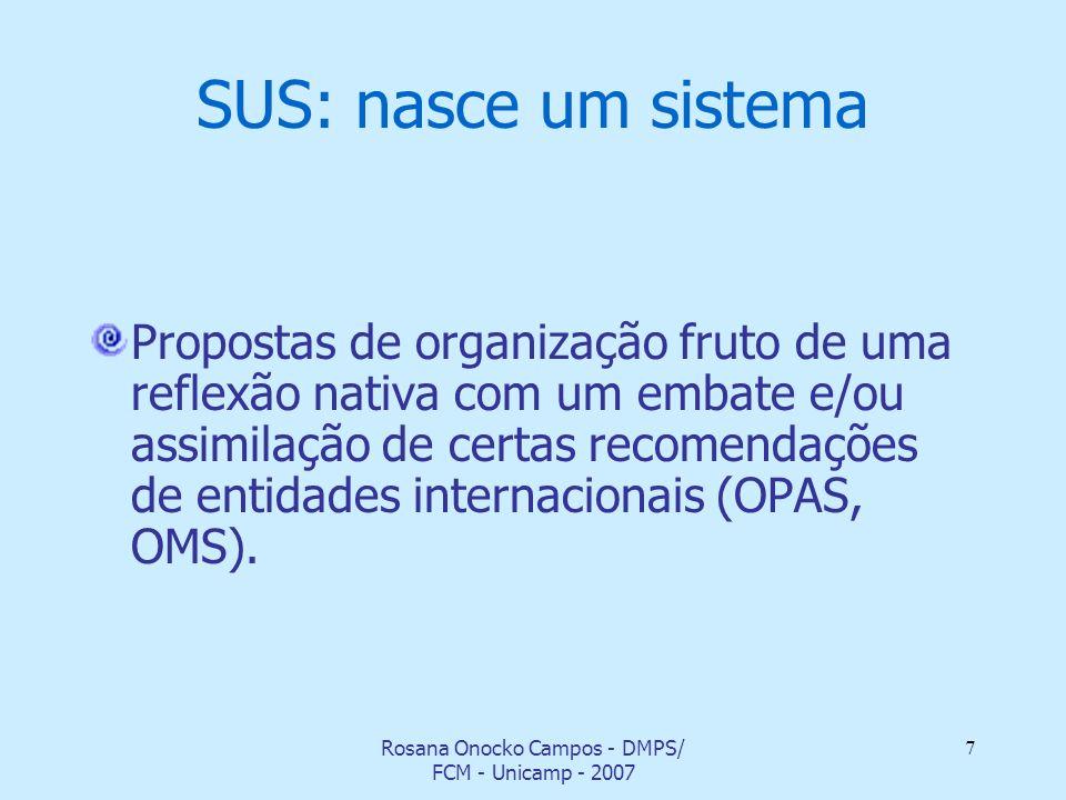 Rosana Onocko Campos - DMPS/ FCM - Unicamp - 2007 7 SUS: nasce um sistema Propostas de organização fruto de uma reflexão nativa com um embate e/ou ass