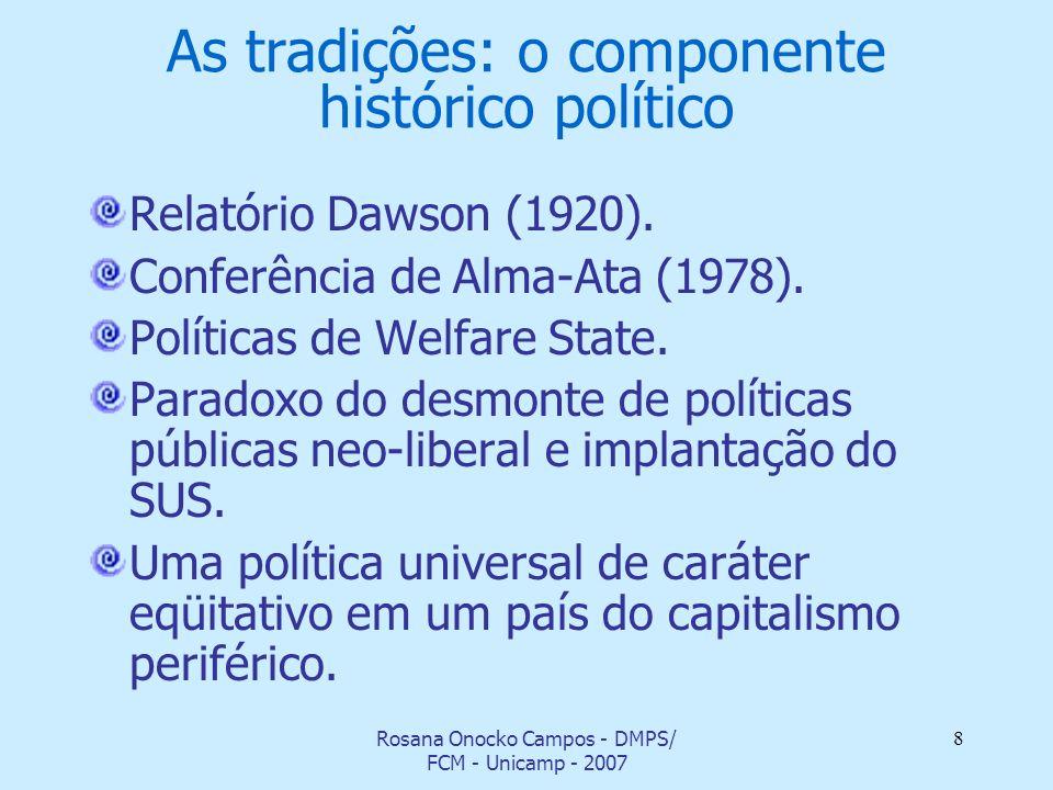 Rosana Onocko Campos - DMPS/ FCM - Unicamp - 2007 8 As tradições: o componente histórico político Relatório Dawson (1920). Conferência de Alma-Ata (19
