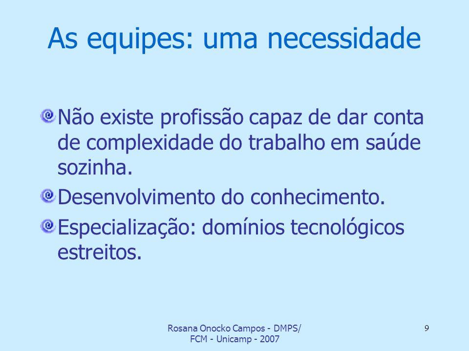 Rosana Onocko Campos - DMPS/ FCM - Unicamp - 2007 9 As equipes: uma necessidade Não existe profissão capaz de dar conta de complexidade do trabalho em
