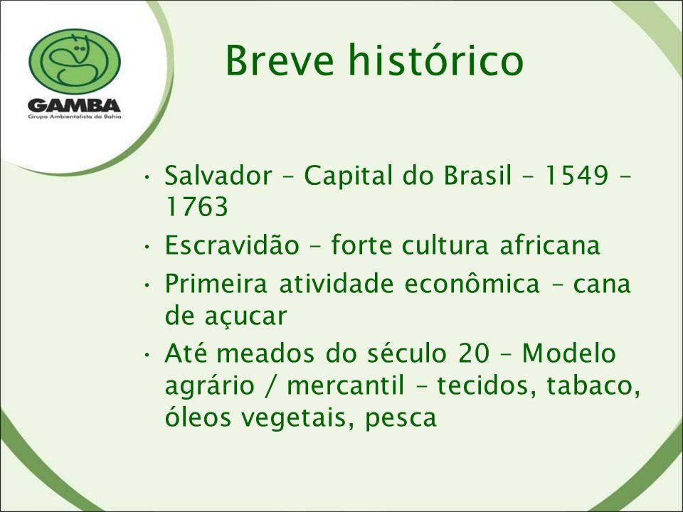 Salvador – Capital do Brasil – 1549 – 1763 Escravidão – forte cultura africana Primeira atividade econômica – cana de açucar Até meados do século 20 – Modelo agrário / mercantil – tecidos, tabaco, óleos vegetais, pesca Breve histórico