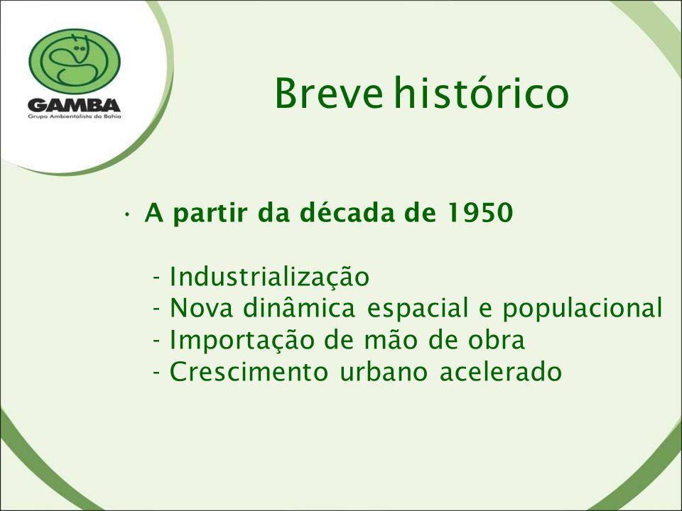A partir da década de 1950 - Industrialização - Nova dinâmica espacial e populacional - Importação de mão de obra - Crescimento urbano acelerado Breve histórico