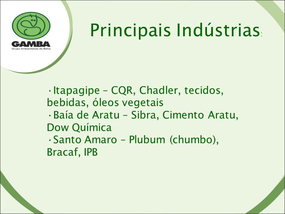 Itapagipe – CQR, Chadler, tecidos, bebidas, óleos vegetais Baía de Aratu – Sibra, Cimento Aratu, Dow Química Santo Amaro – Plubum (chumbo), Bracaf, IPB Principais Indústrias :
