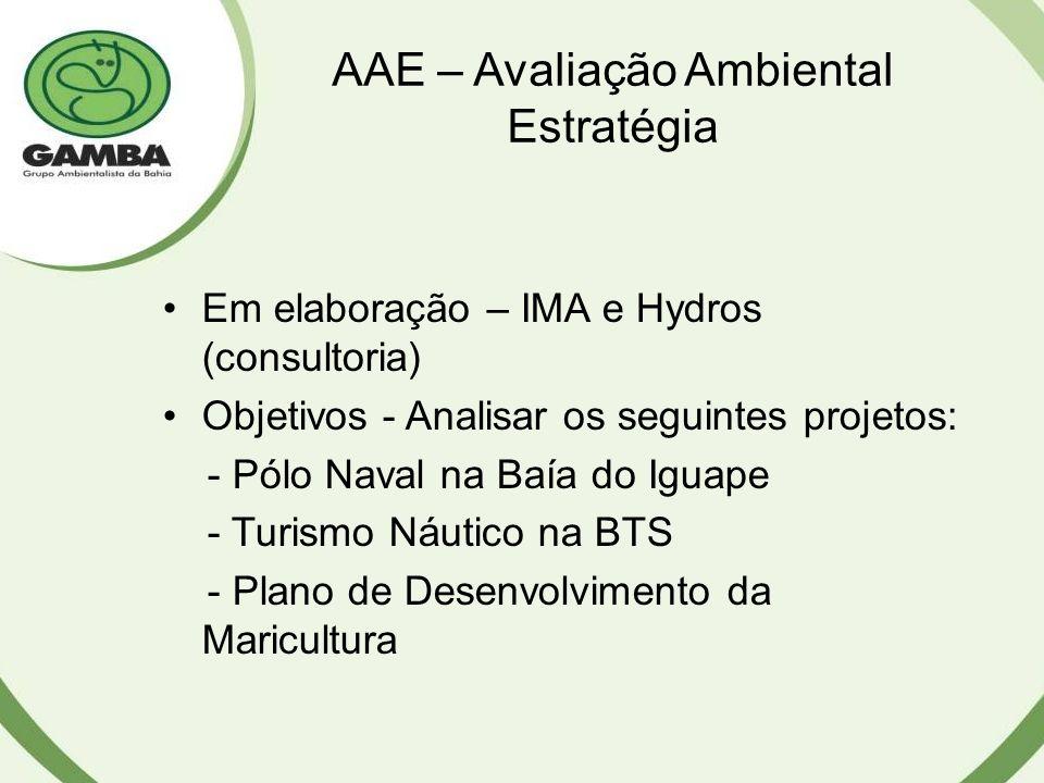 AAE – Avaliação Ambiental Estratégia Em elaboração – IMA e Hydros (consultoria) Objetivos - Analisar os seguintes projetos: - Pólo Naval na Baía do Iguape - Turismo Náutico na BTS - Plano de Desenvolvimento da Maricultura