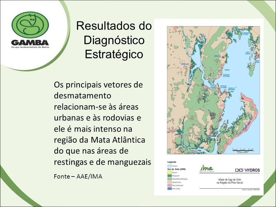 Resultados do Diagnóstico Estratégico Os principais vetores de desmatamento relacionam-se às áreas urbanas e às rodovias e ele é mais intenso na região da Mata Atlântica do que nas áreas de restingas e de manguezais Fonte – AAE/IMA