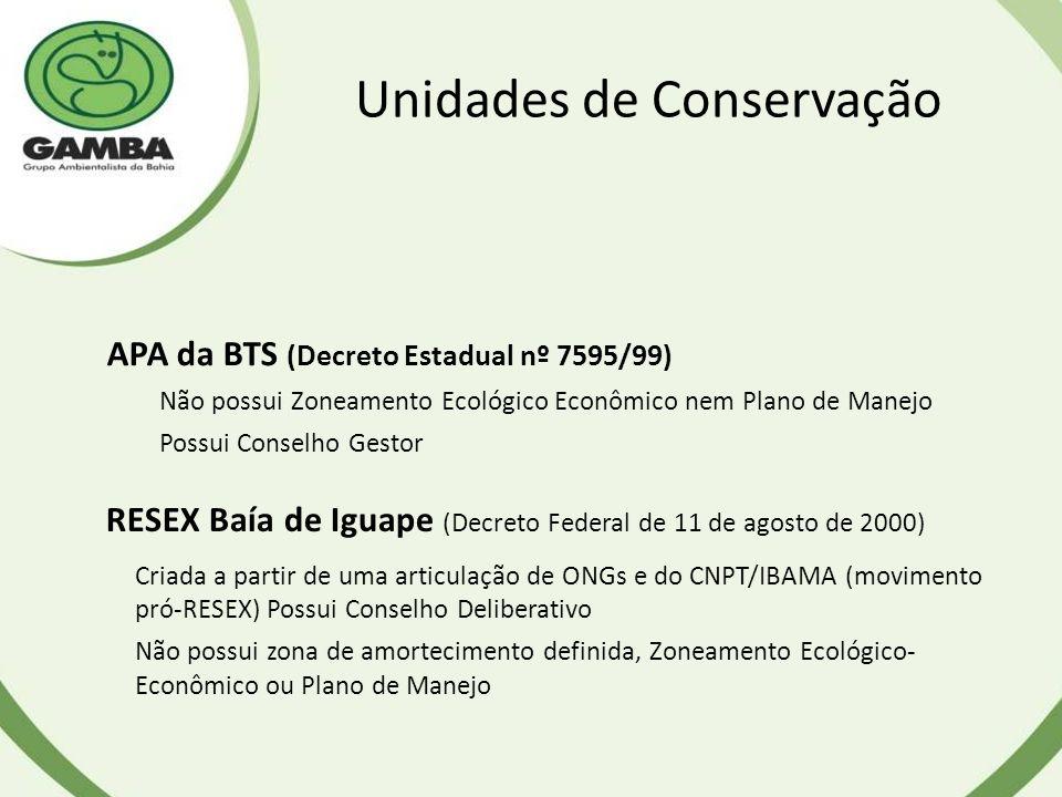Unidades de Conservação APA da BTS (Decreto Estadual nº 7595/99) Não possui Zoneamento Ecológico Econômico nem Plano de Manejo Possui Conselho Gestor RESEX Baía de Iguape (Decreto Federal de 11 de agosto de 2000) Criada a partir de uma articulação de ONGs e do CNPT/IBAMA (movimento pró-RESEX) Possui Conselho Deliberativo Não possui zona de amortecimento definida, Zoneamento Ecológico- Econômico ou Plano de Manejo