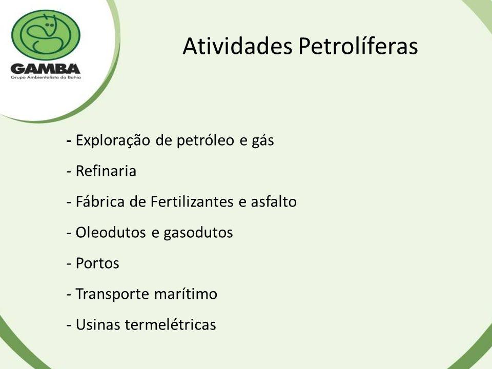 Atividades Petrolíferas - Exploração de petróleo e gás - Refinaria - Fábrica de Fertilizantes e asfalto - Oleodutos e gasodutos - Portos - Transporte marítimo - Usinas termelétricas