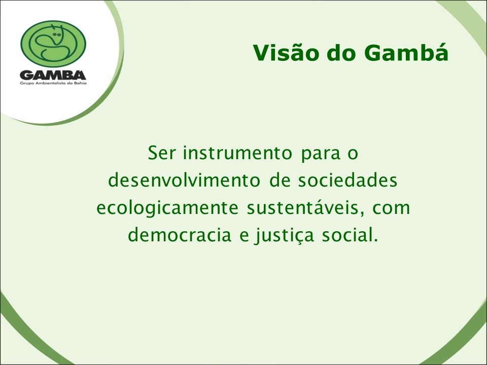 Visão do Gambá Ser instrumento para o desenvolvimento de sociedades ecologicamente sustentáveis, com democracia e justiça social.