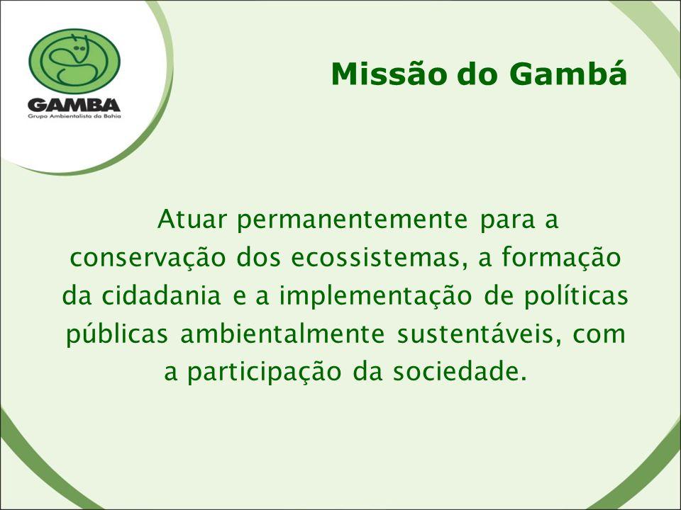 Missão do Gambá Atuar permanentemente para a conservação dos ecossistemas, a formação da cidadania e a implementação de políticas públicas ambientalmente sustentáveis, com a participação da sociedade.