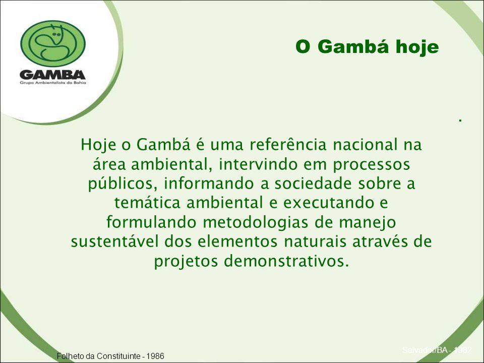 . Salvador/BA - 1982 Folheto da Constituinte - 1986 O Gambá hoje Hoje o Gambá é uma referência nacional na área ambiental, intervindo em processos públicos, informando a sociedade sobre a temática ambiental e executando e formulando metodologias de manejo sustentável dos elementos naturais através de projetos demonstrativos.