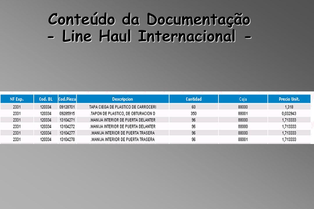 Conteúdo da Documentação - Line Haul Internacional -
