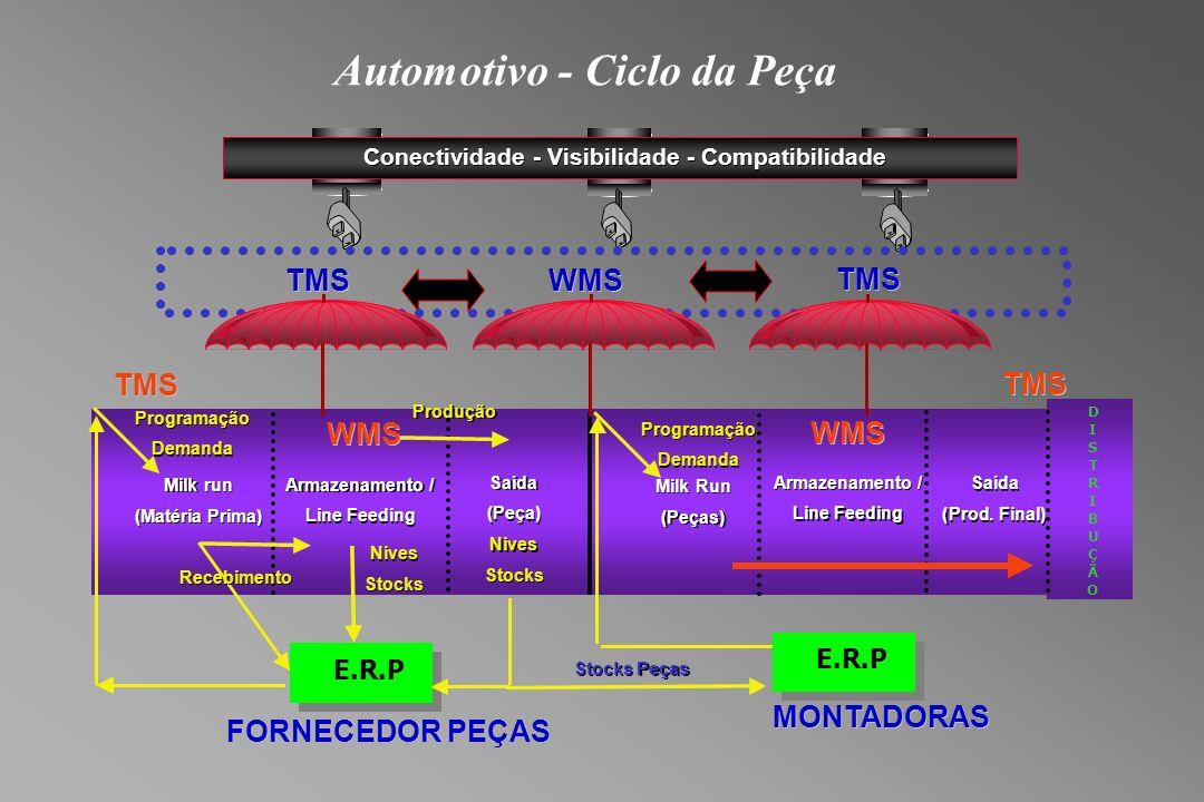 Automotivo - Ciclo da Peça TMS WMS TMS Conectividade - - Visibilidade - - Compatibilidade TMS FORNECEDOR PEÇAS TMS MONTADORAS Milk run (Matéria Prima) Milk run (Matéria Prima) Saída (Peça) Saída (Peça) E.R.P Recebimento Programação Demanda Programação Demanda Nives Stocks Nives Stocks Produção Nives Stocks Nives Stocks Peças StocksPeças Milk Run (Peças) Milk Run (Peças) Programação Demanda Programação Demanda D I S T R I B U Ç Ã O Armazenamento / Line Feeding Armazenamento / Line Feeding WMS Saída (Prod.