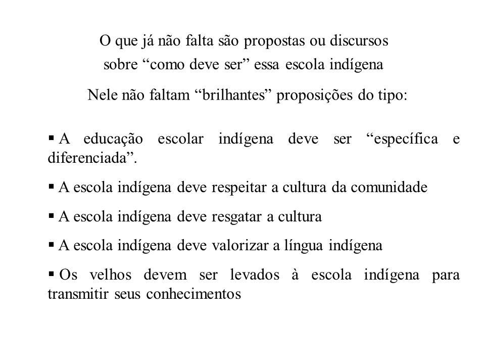 O que já não falta são propostas ou discursos sobre como deve ser essa escola indígena Nele não faltam brilhantes proposições do tipo: A educação esco