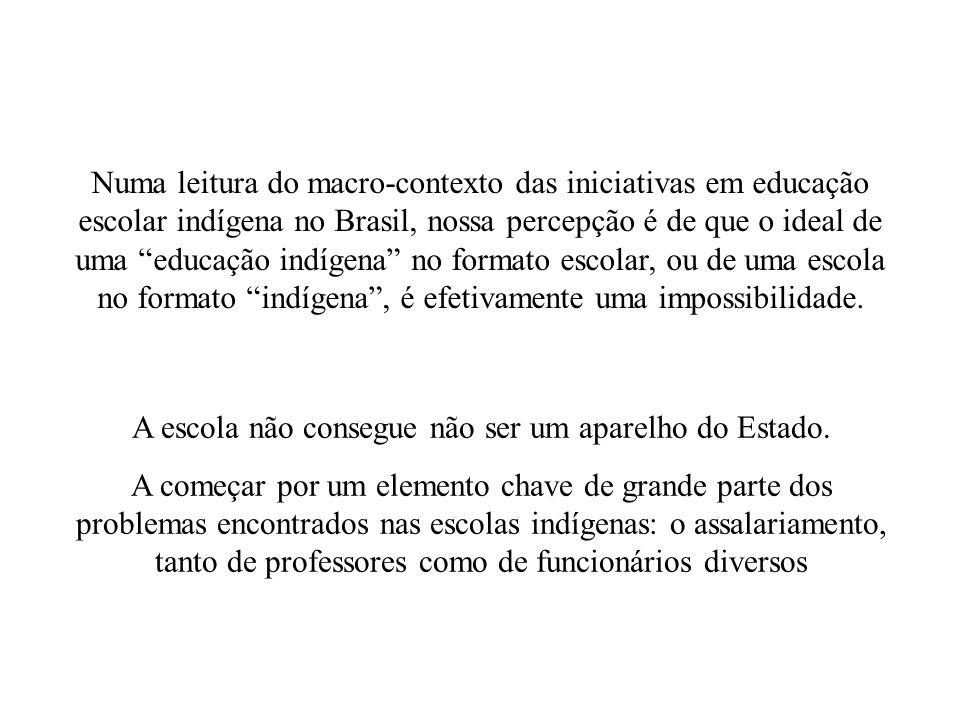 Numa leitura do macro-contexto das iniciativas em educação escolar indígena no Brasil, nossa percepção é de que o ideal de uma educação indígena no fo