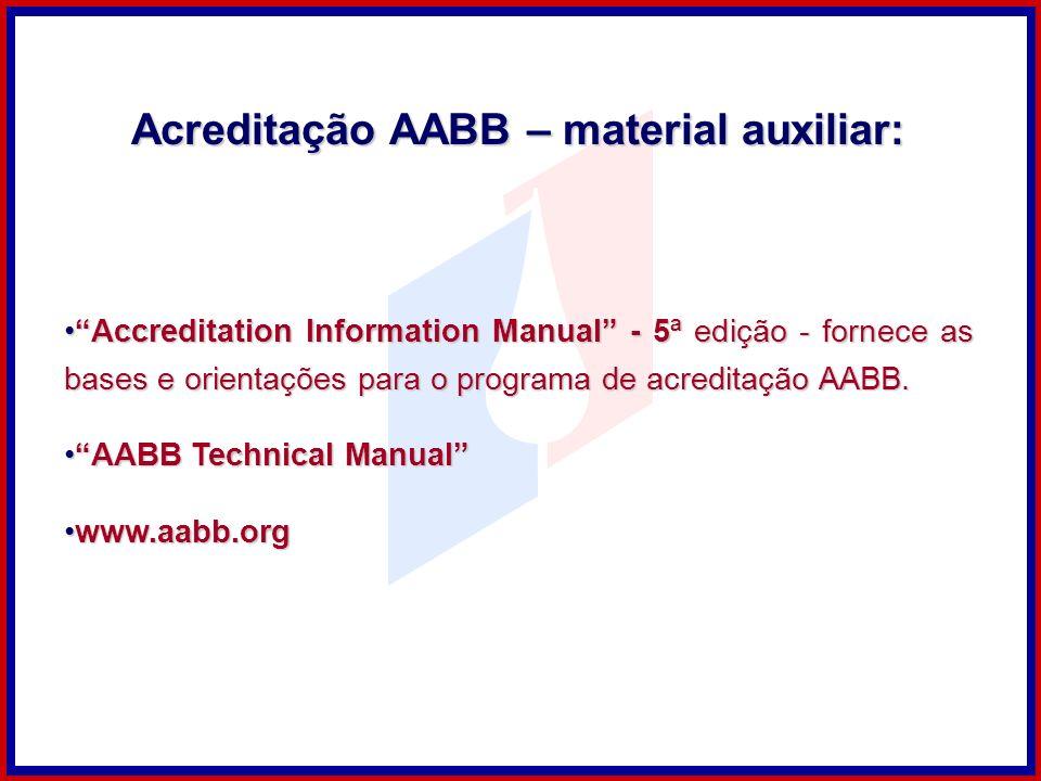 Accreditation Information Manual - 5ª edição - fornece as bases e orientações para o programa de acreditação AABB.Accreditation Information Manual - 5