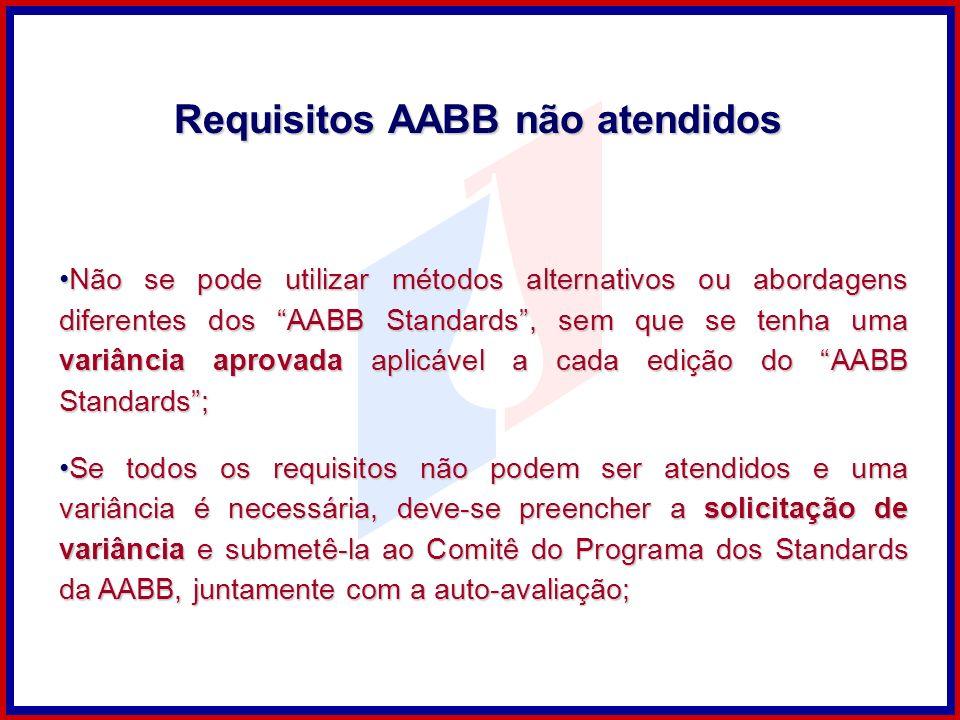 Requisitos AABB não atendidos Não se pode utilizar métodos alternativos ou abordagens diferentes dos AABB Standards, sem que se tenha uma variância ap