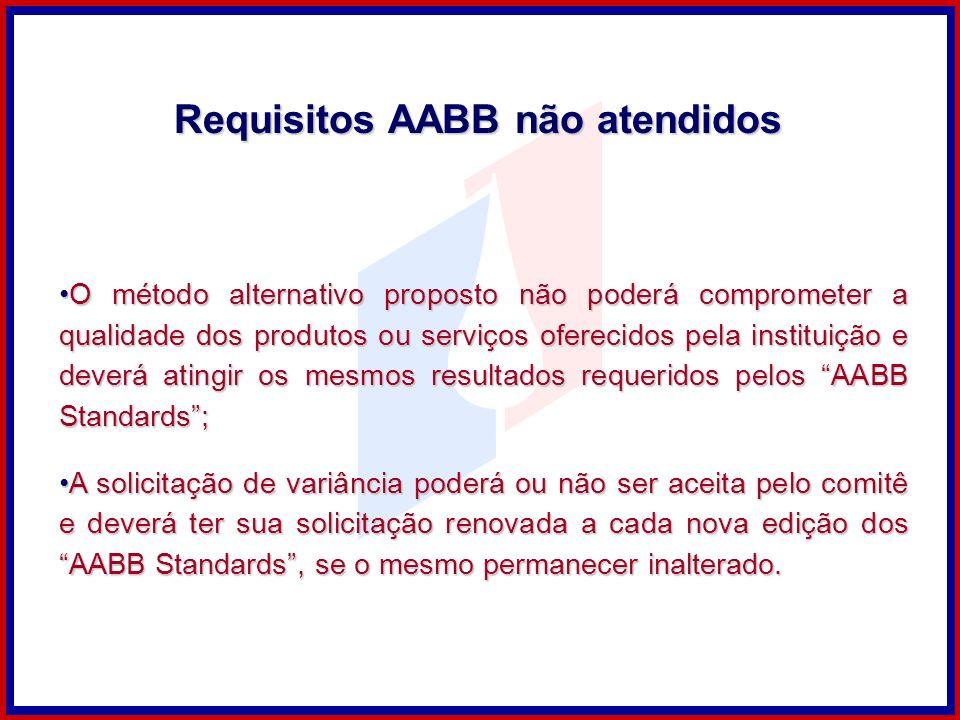 Requisitos AABB não atendidos O método alternativo proposto não poderá comprometer a qualidade dos produtos ou serviços oferecidos pela instituição e