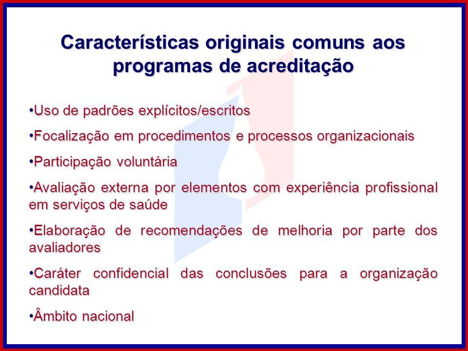 Características originais comuns aos programas de acreditação Uso de padrões explícitos/escritosUso de padrões explícitos/escritos Focalização em proc