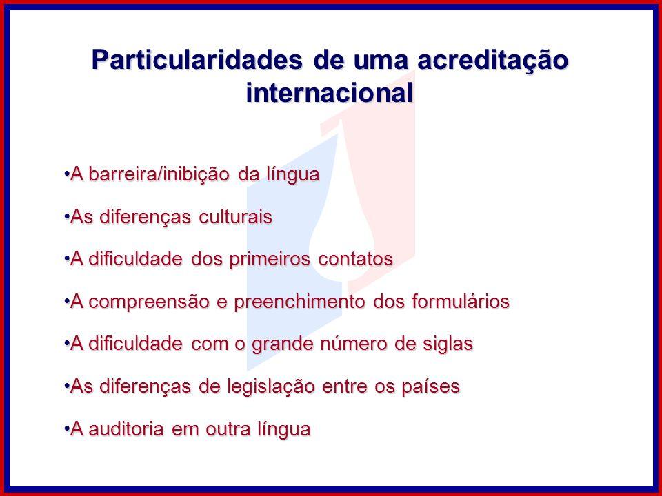 Particularidades de uma acreditação internacional A barreira/inibição da línguaA barreira/inibição da língua As diferenças culturaisAs diferenças cult