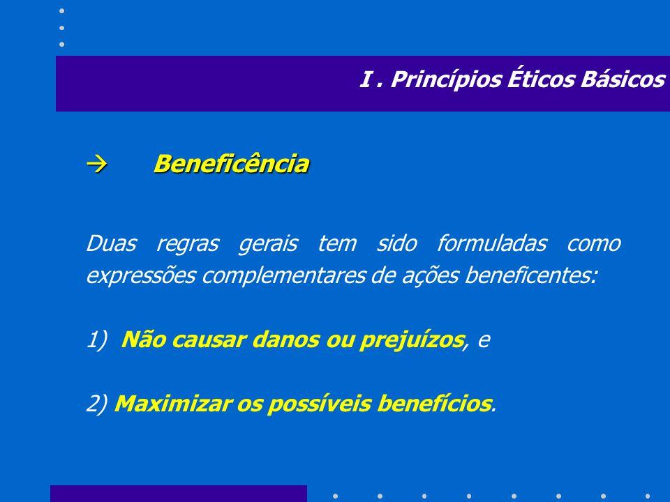 Beneficência Beneficência Duas regras gerais tem sido formuladas como expressões complementares de ações beneficentes: 1) Não causar danos ou prejuízo