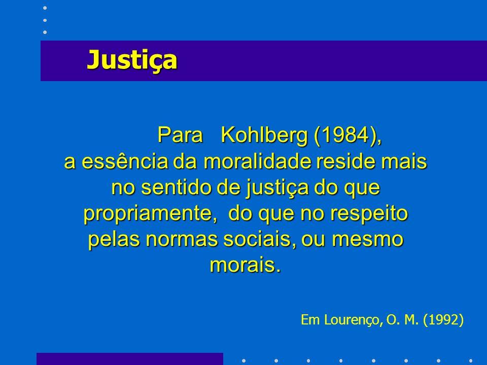 Para Kohlberg (1984), a essência da moralidade reside mais no sentido de justiça do que propriamente, do que no respeito pelas normas sociais, ou mesm