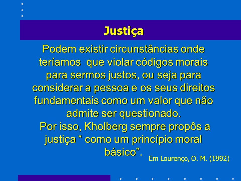 Podem existir circunstâncias onde teríamos que violar códigos morais para sermos justos, ou seja para considerar a pessoa e os seus direitos fundament