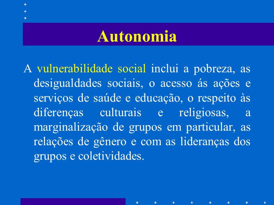 Autonomia A vulnerabilidade social inclui a pobreza, as desigualdades sociais, o acesso ás ações e serviços de saúde e educação, o respeito às diferen