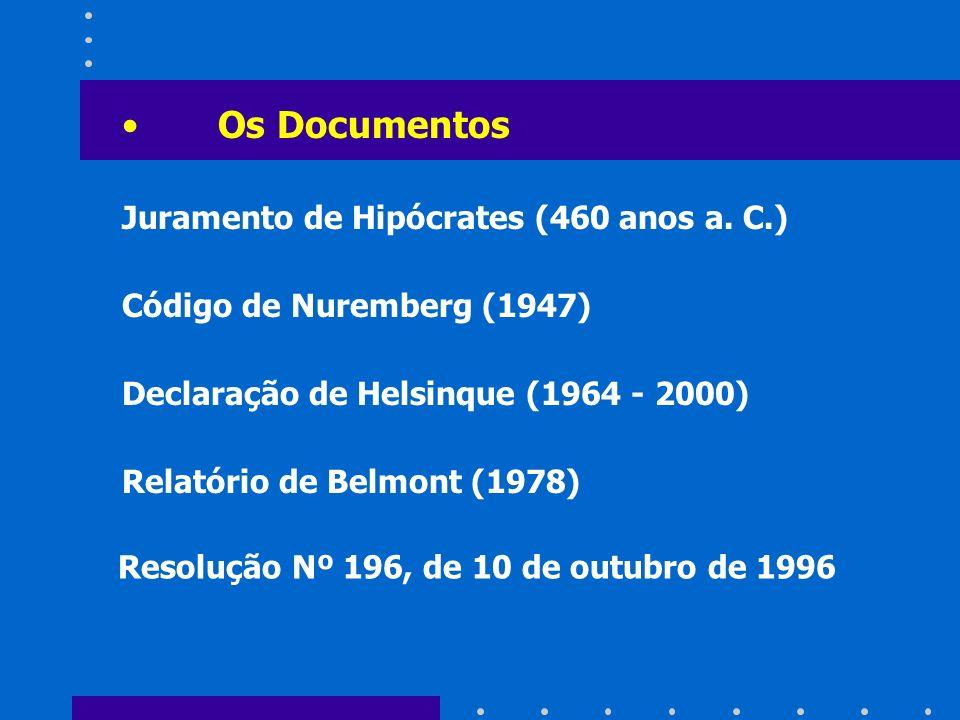Os Documentos Juramento de Hipócrates (460 anos a. C.) Código de Nuremberg (1947) Declaração de Helsinque (1964 - 2000) Relatório de Belmont (1978) Re