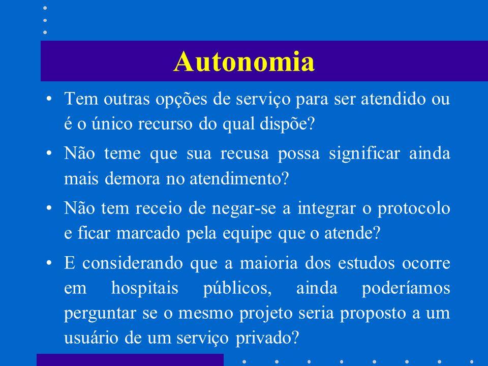 Autonomia Tem outras opções de serviço para ser atendido ou é o único recurso do qual dispõe? Não teme que sua recusa possa significar ainda mais demo