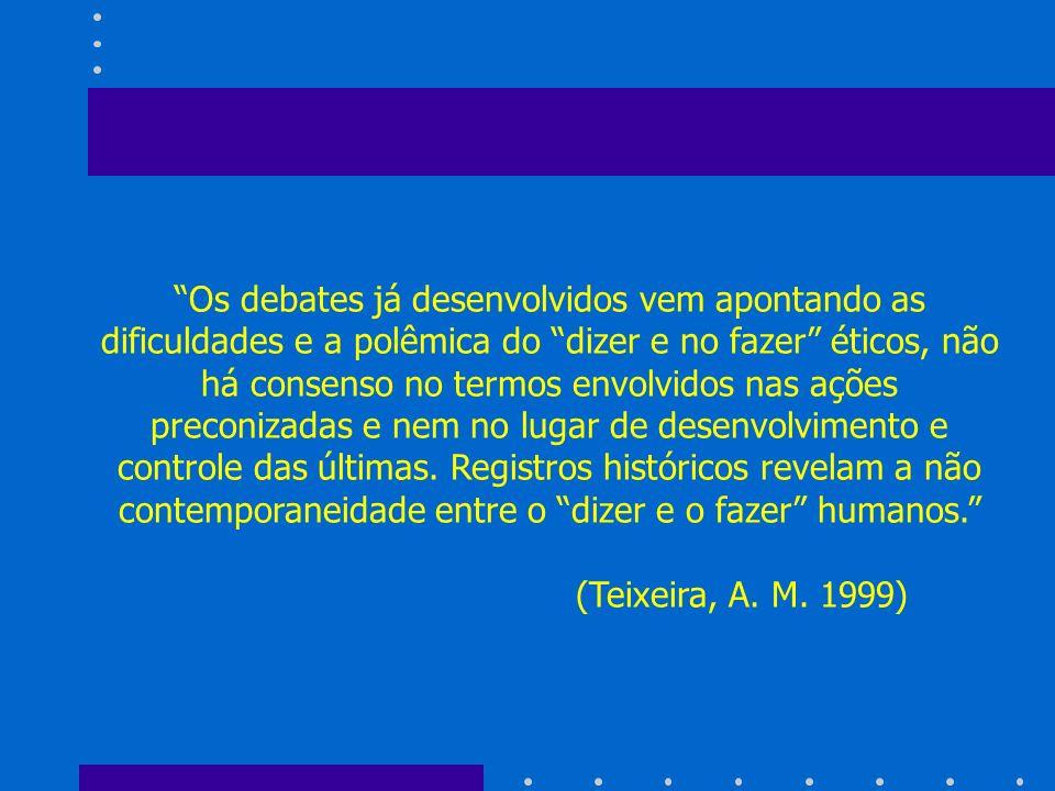 Os debates já desenvolvidos vem apontando as dificuldades e a polêmica do dizer e no fazer éticos, não há consenso no termos envolvidos nas ações prec