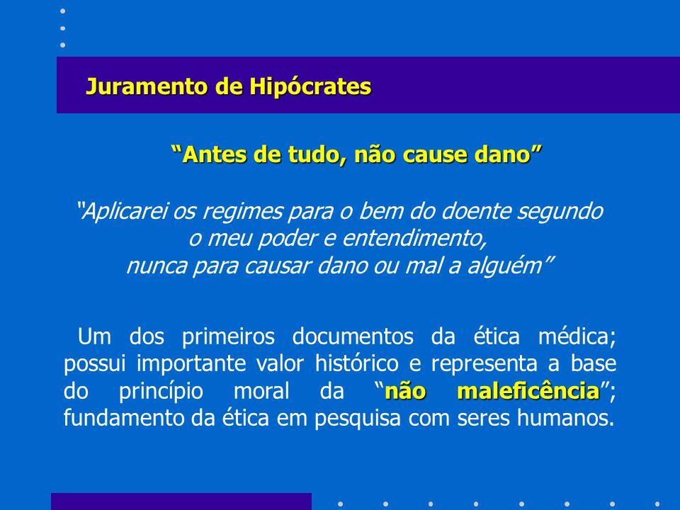 Antes de tudo, não cause dano Juramento de Hipócrates Aplicarei os regimes para o bem do doente segundo o meu poder e entendimento, nunca para causar