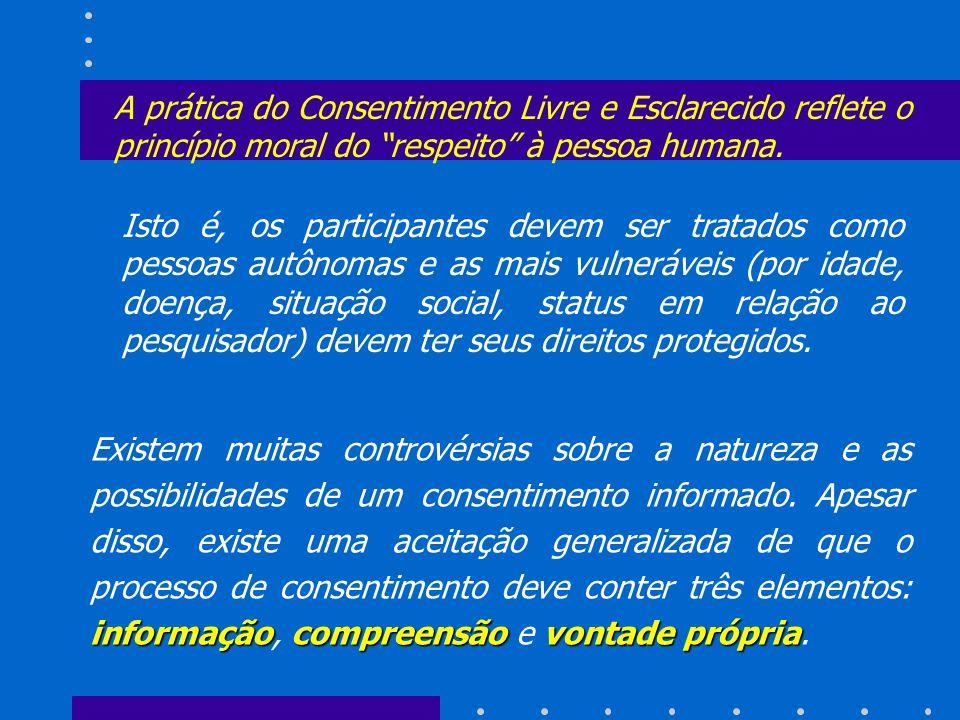 A prática do Consentimento Livre e Esclarecido reflete o princípio moral do respeito à pessoa humana. informaçãocompreensãovontade própria Existem mui