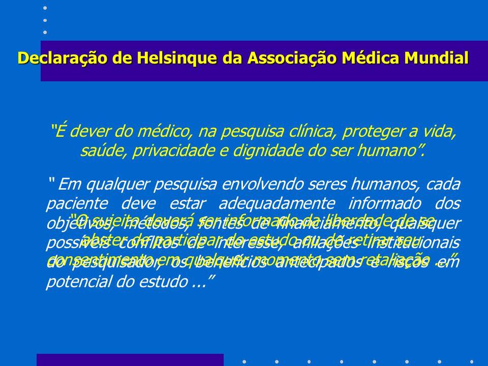 Declaração de Helsinque da Associação Médica Mundial É dever do médico, na pesquisa clínica, proteger a vida, saúde, privacidade e dignidade do ser hu