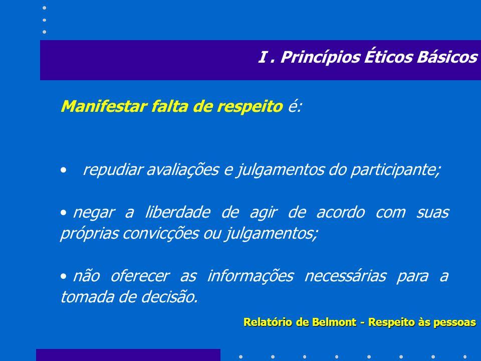Manifestar falta de respeito é: repudiar avaliações e julgamentos do participante; negar a liberdade de agir de acordo com suas próprias convicções ou