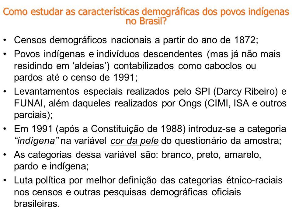 Censos demográficos nacionais a partir do ano de 1872; Povos indígenas e indivíduos descendentes (mas já não mais residindo em aldeias) contabilizados