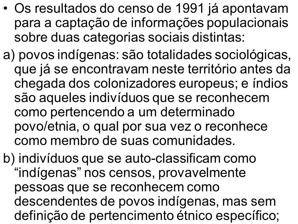 Os resultados do censo de 1991 já apontavam para a captação de informações populacionais sobre duas categorias sociais distintas: a) povos indígenas: