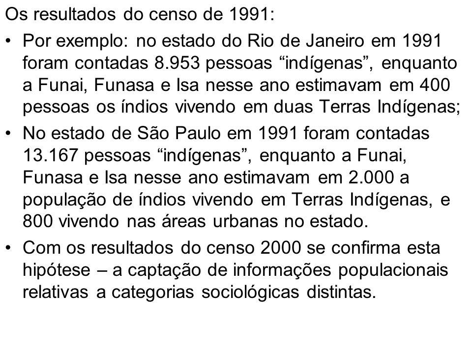 Os resultados do censo de 1991: Por exemplo: no estado do Rio de Janeiro em 1991 foram contadas 8.953 pessoas indígenas, enquanto a Funai, Funasa e Is