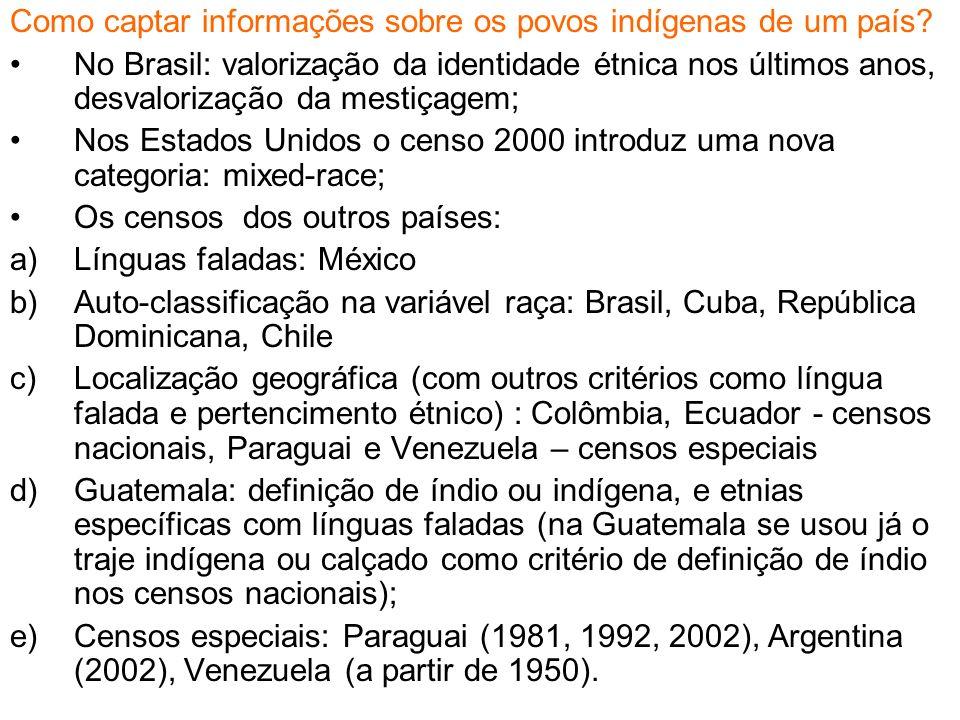 Como captar informações sobre os povos indígenas de um país? No Brasil: valorização da identidade étnica nos últimos anos, desvalorização da mestiçage