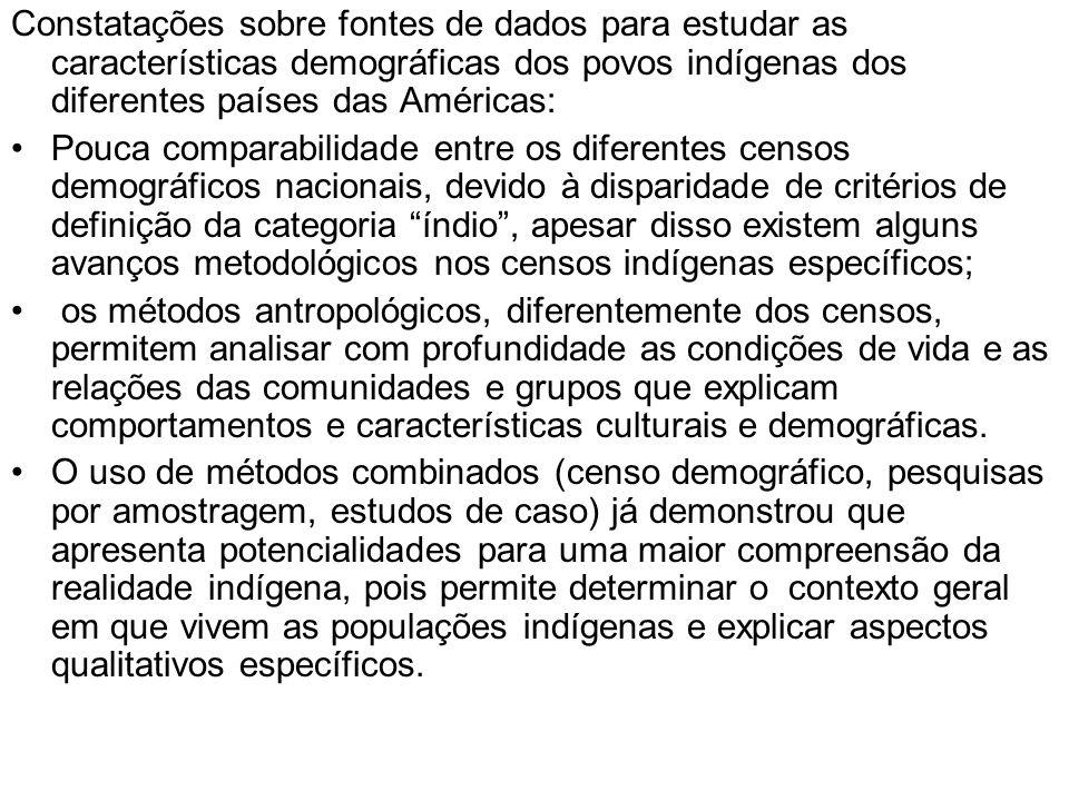 Constatações sobre fontes de dados para estudar as características demográficas dos povos indígenas dos diferentes países das Américas: Pouca comparab