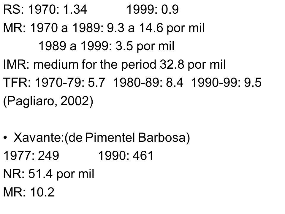 RS: 1970: 1.34 1999: 0.9 MR: 1970 a 1989: 9.3 a 14.6 por mil 1989 a 1999: 3.5 por mil IMR: medium for the period 32.8 por mil TFR: 1970-79: 5.7 1980-8