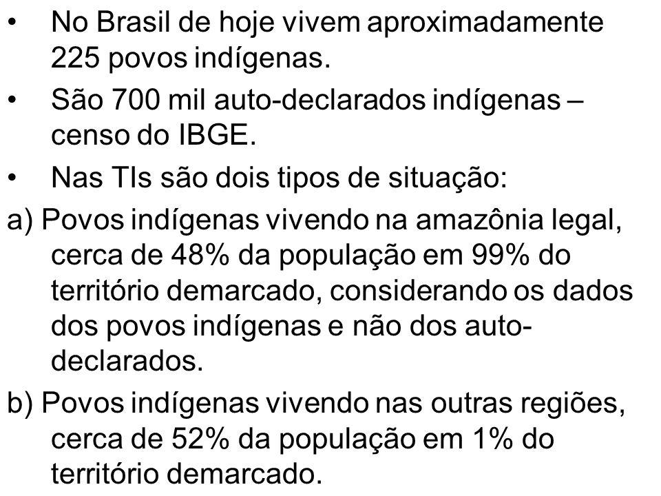 No Brasil de hoje vivem aproximadamente 225 povos indígenas. São 700 mil auto-declarados indígenas – censo do IBGE. Nas TIs são dois tipos de situação