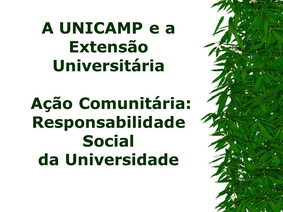 A UNICAMP e a Extensão Universitária Ação Comunitária: Responsabilidade Social da Universidade