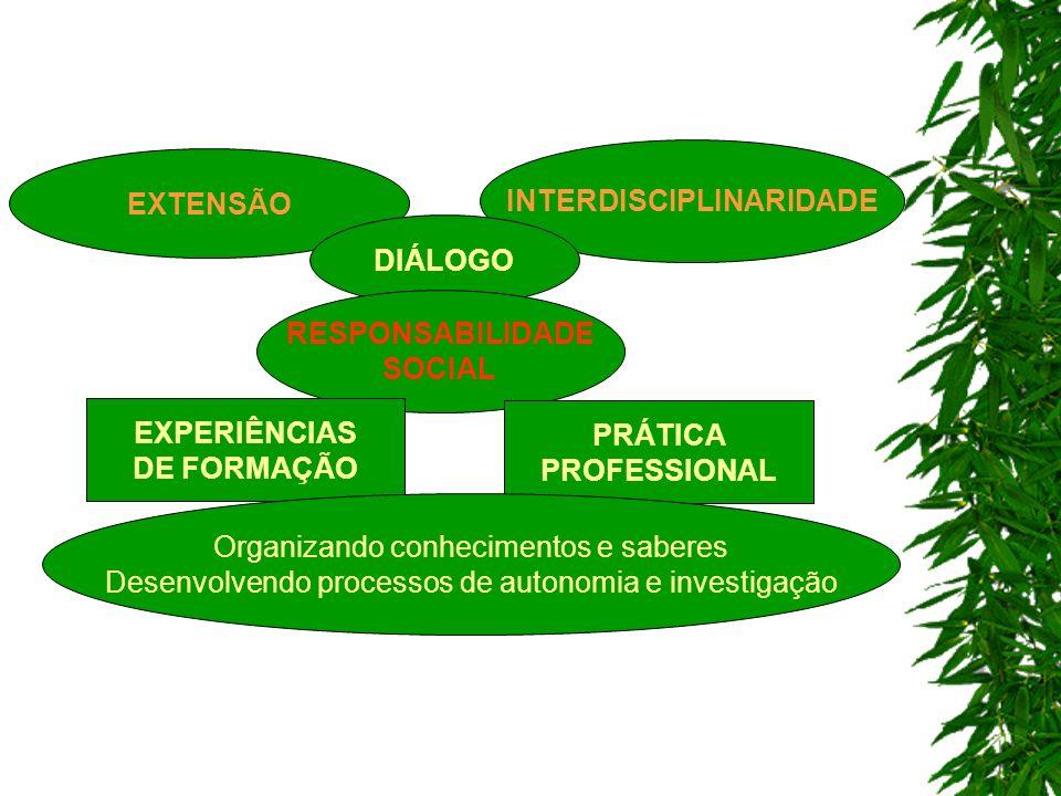EXTENSÃO INTERDISCIPLINARIDADE DIÁLOGO RESPONSABILIDADE SOCIAL EXPERIÊNCIAS DE FORMAÇÃO PRÁTICA PROFESSIONAL Organizando conhecimentos e saberes Desenvolvendo processos de autonomia e investigação