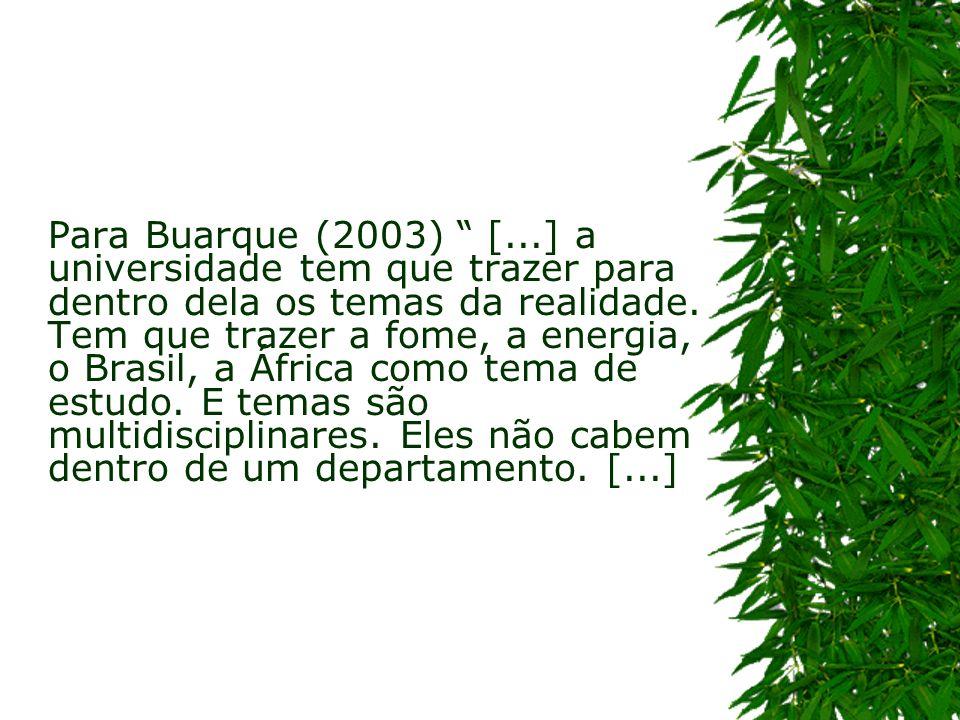 Para Buarque (2003) [...] a universidade tem que trazer para dentro dela os temas da realidade. Tem que trazer a fome, a energia, o Brasil, a África c